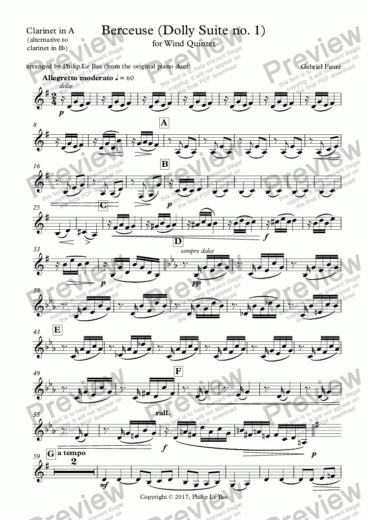 page one of the Clarinet in A part from Berceuse (Dolly Suite no. 1)