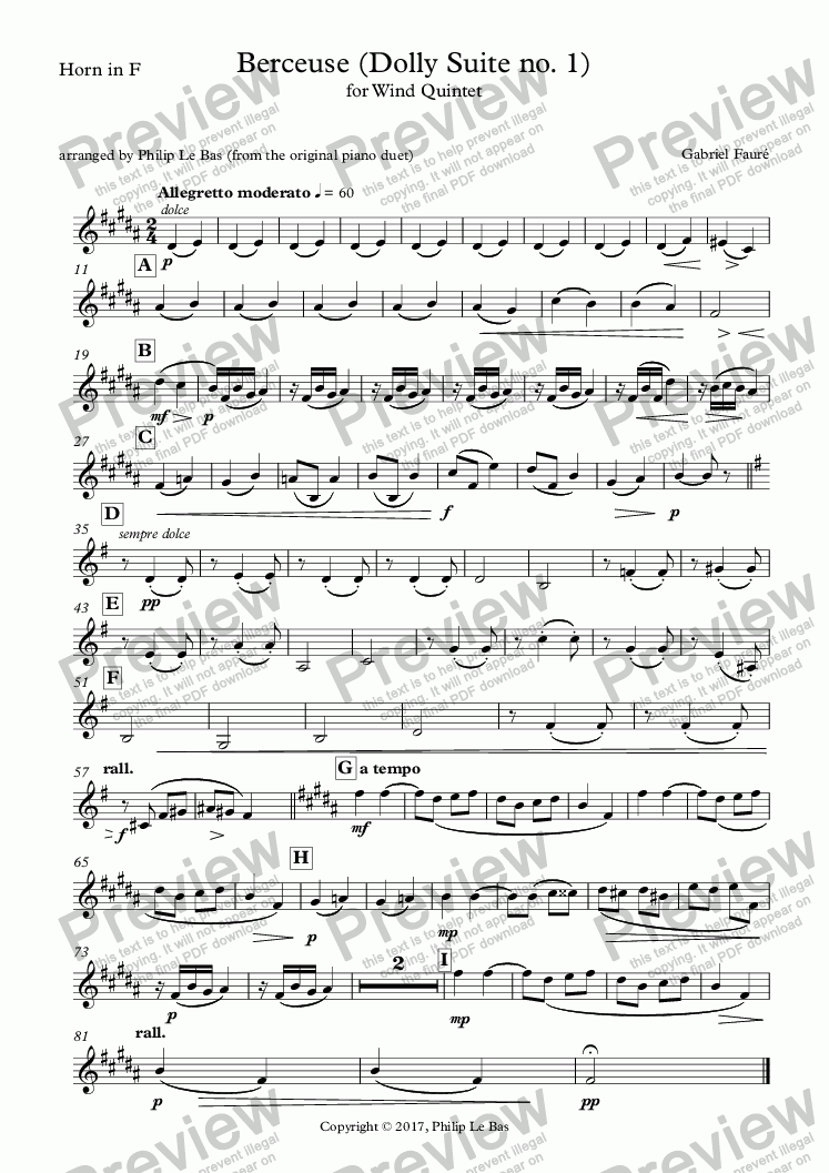 page one of the Horn in F part from Berceuse (Dolly Suite no. 1)