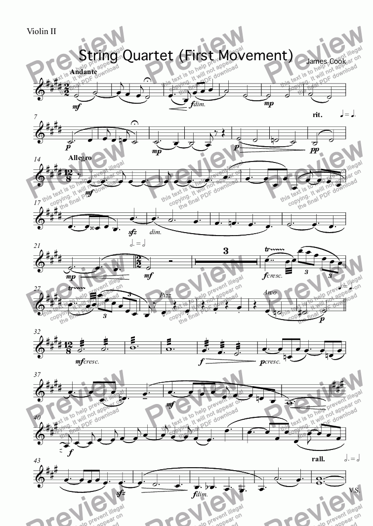 page one of the Violin II part from String Quartet (First Movement)