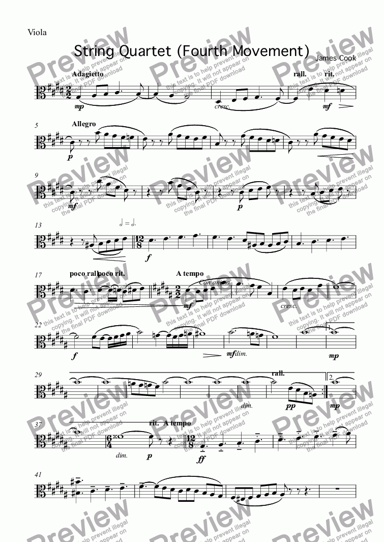 page one of the Viola part from String Quartet (Fourth Movement)