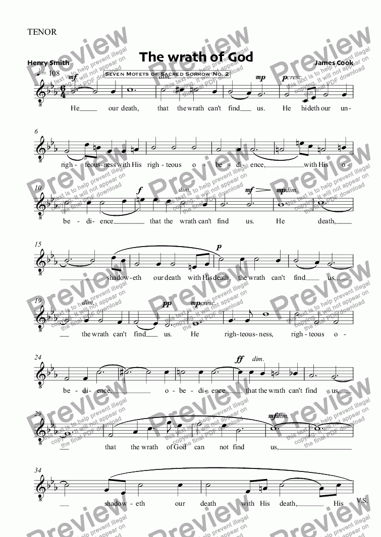 page one of the TENOR part from The wrath of God