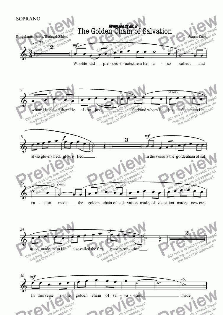 page one of the SOPRANO part from The Golden Chain of Salvation