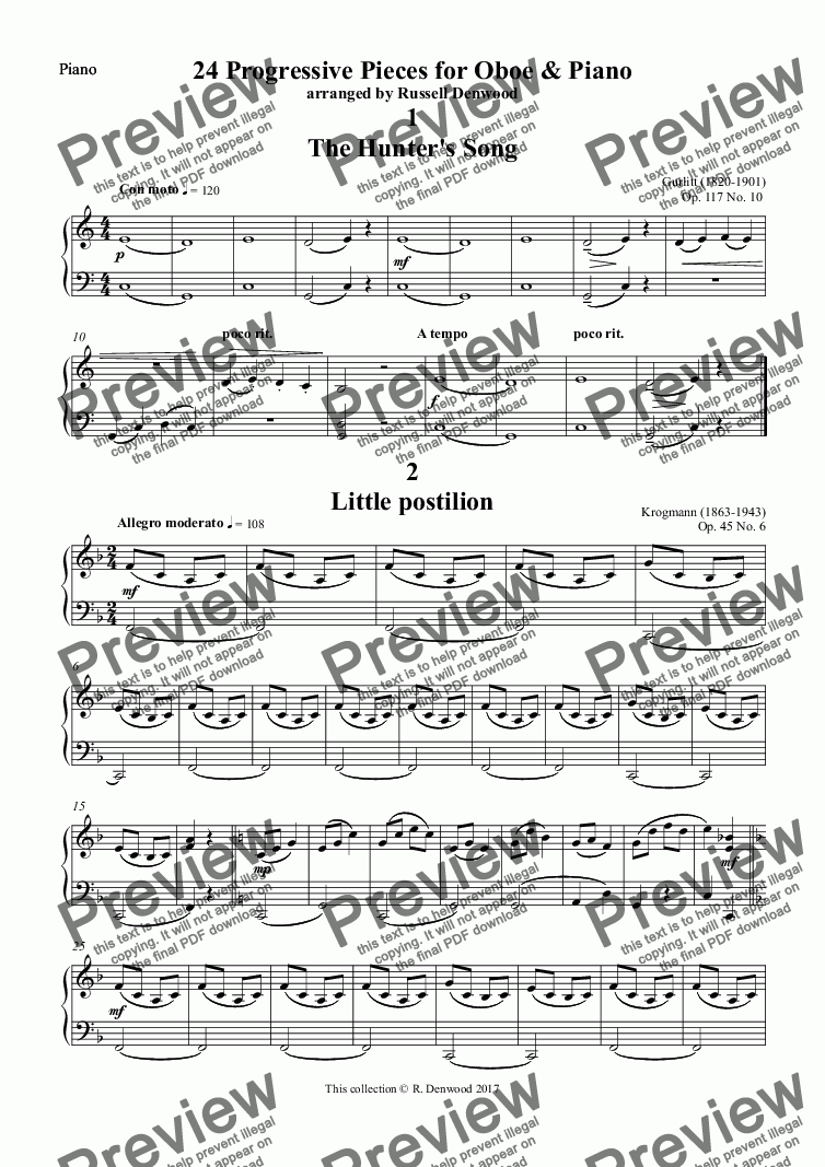 page one of the Piano part from 24 Progressive Pieces for Oboe & Piano