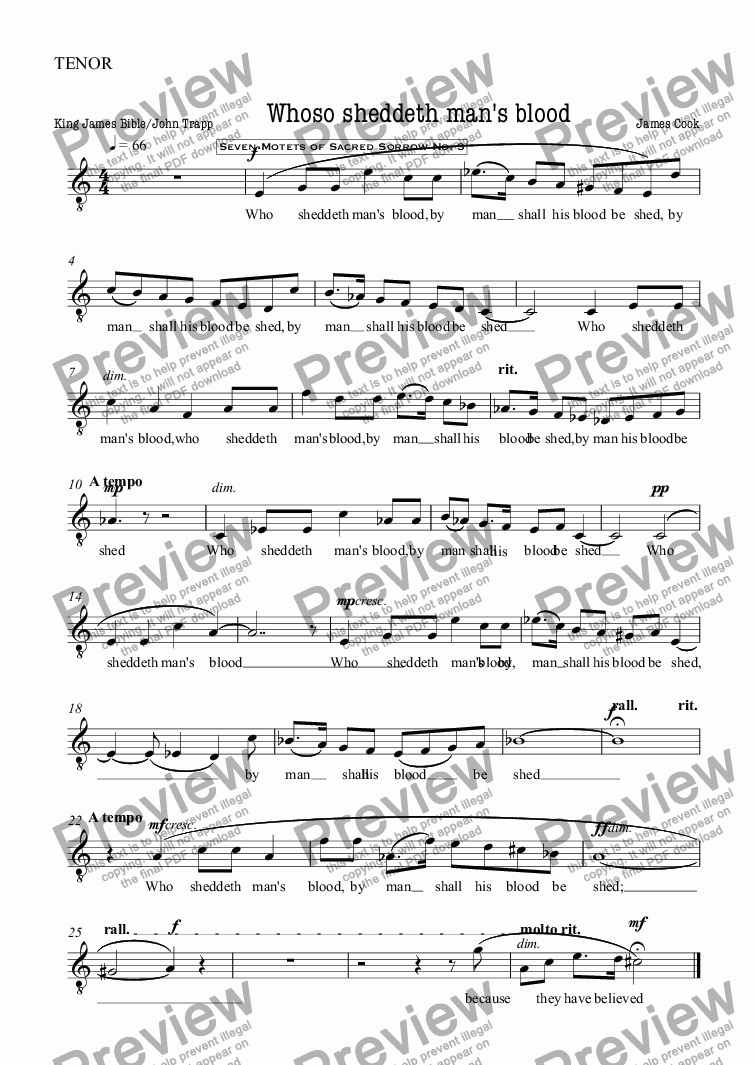 page one of the TENOR part from Whoso sheddeth man's blood