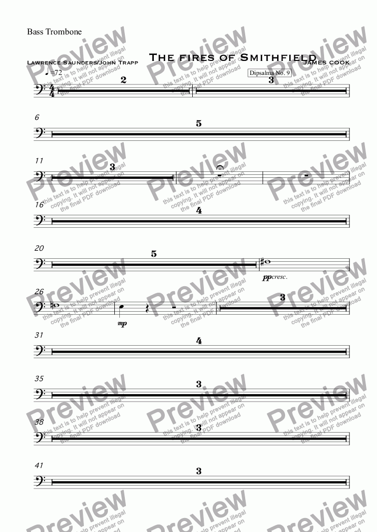 page one of the Bass Trombone part from The fires of Smithfield