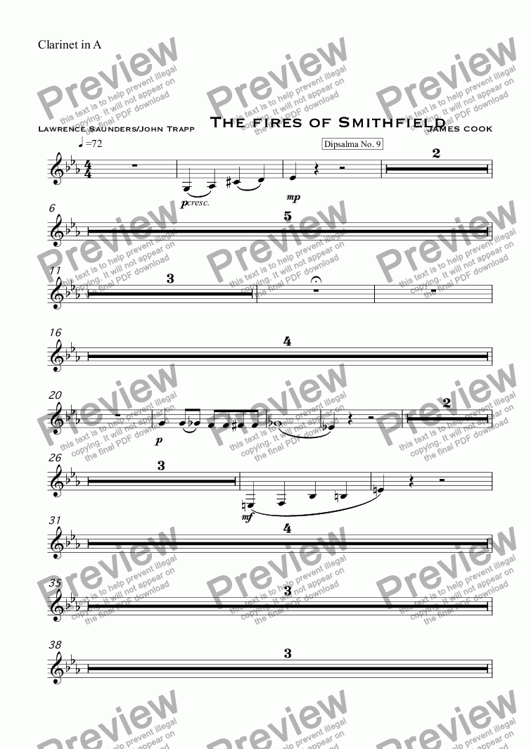 page one of the Clarinet in A part from The fires of Smithfield