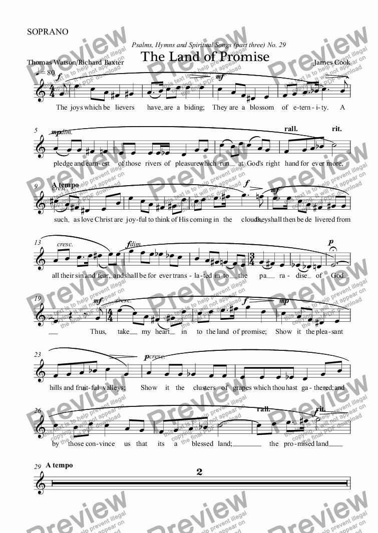 page one of the SOPRANO part from The Land of Promise
