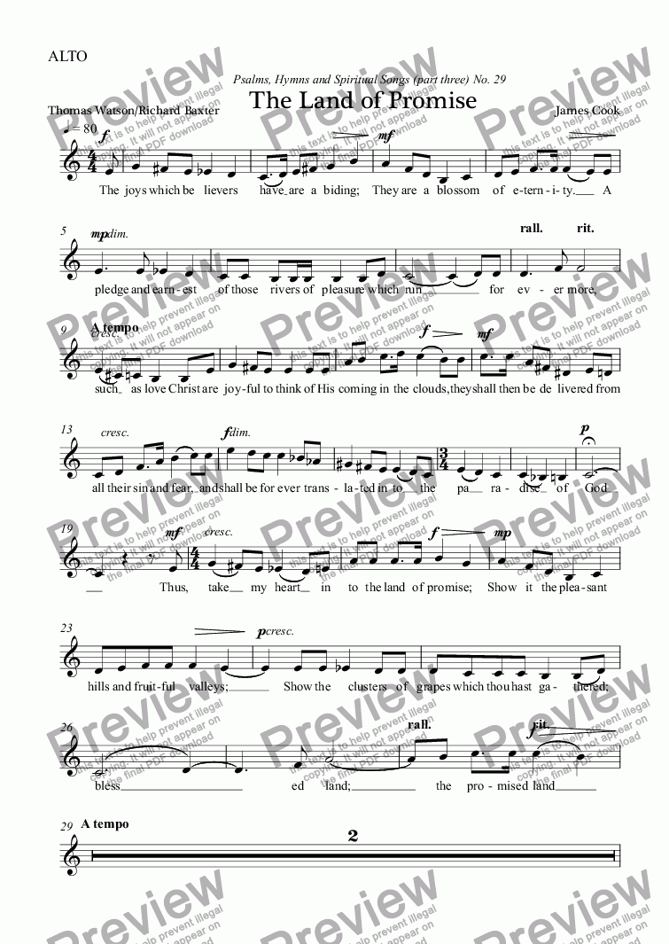 page one of the ALTO part from The Land of Promise