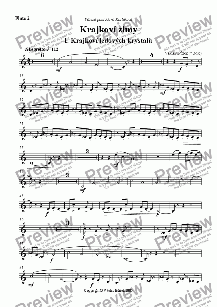 page one of the flute 2 part from The Laces Of The Winter