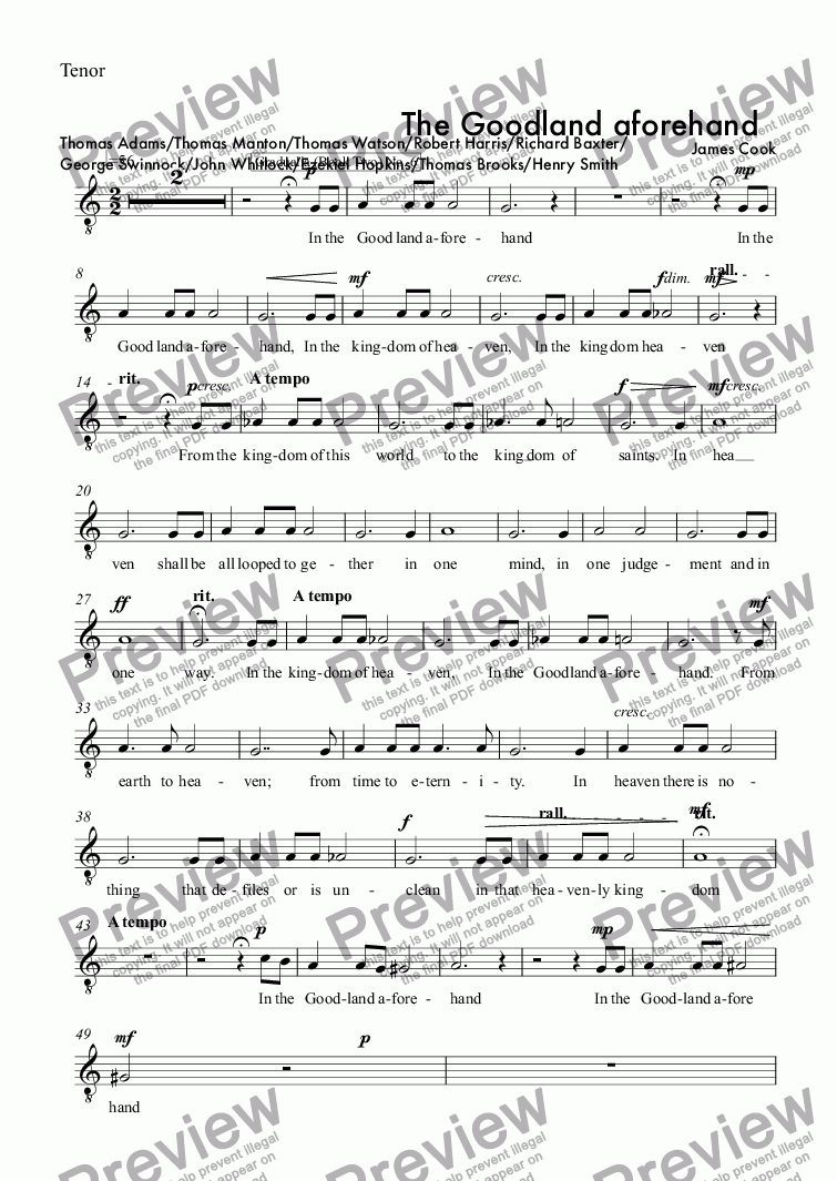 page one of the Tenor part from The Goodland aforehand