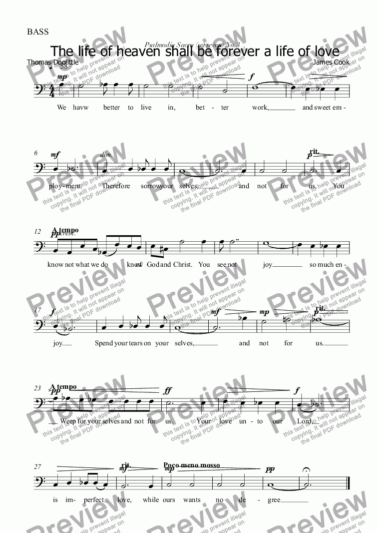 page one of the BASS part from The life of heaven shall be forever a life of love