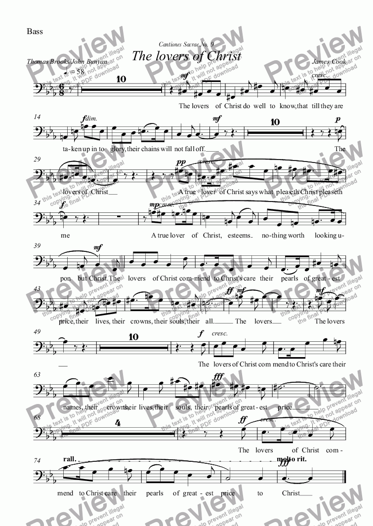 page one of the Bass part from The lovers of Christ