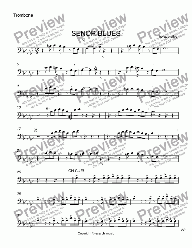 page one of the Trombone part from SENOR BLUES
