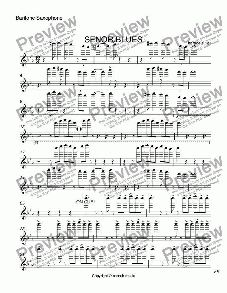 page one of the Baritone Saxophone part from SENOR BLUES