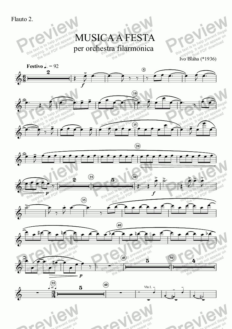page one of the Flauto 2. part from MUSICA A FESTA per orchestra filarmonica