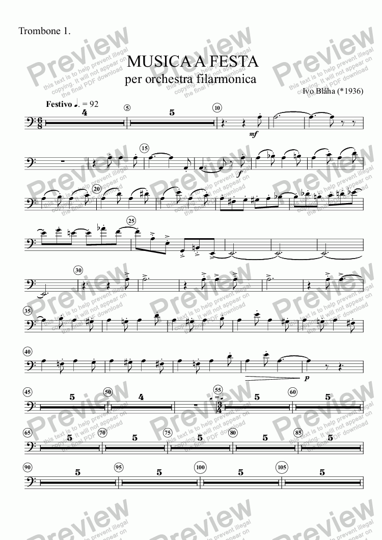 page one of the Trombone 1. part from MUSICA A FESTA per orchestra filarmonica
