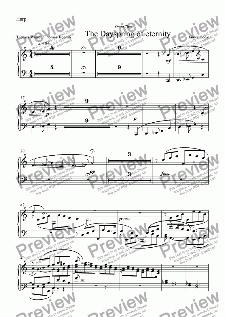 page one of the Harp part from The Dayspring of eternity