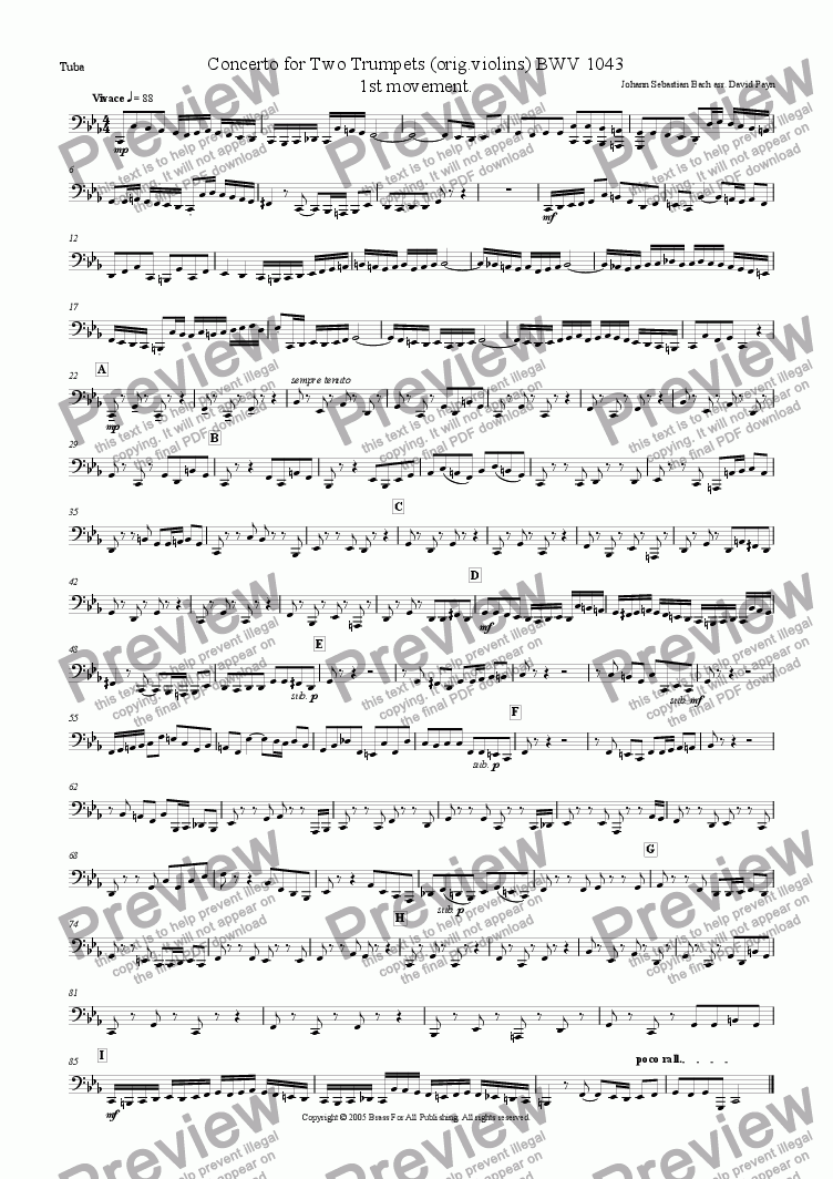 page one of the Tuba part from Concerto For Two Trumpets (orig. Violins) BWV 1043 1st movt.