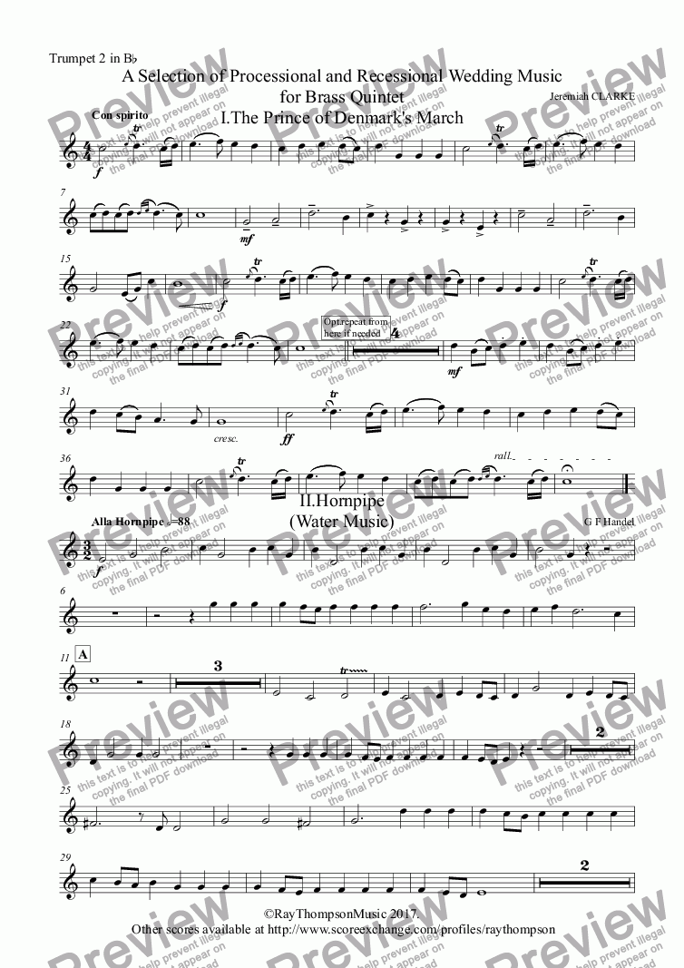 page one of the Trumpet 2 in B^b part from A Selection of Processional and Recessional Wedding Music for Brass Quintet - brass quintet