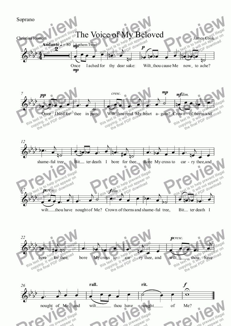 page one of the Soprano part from The Voice of My Beloved