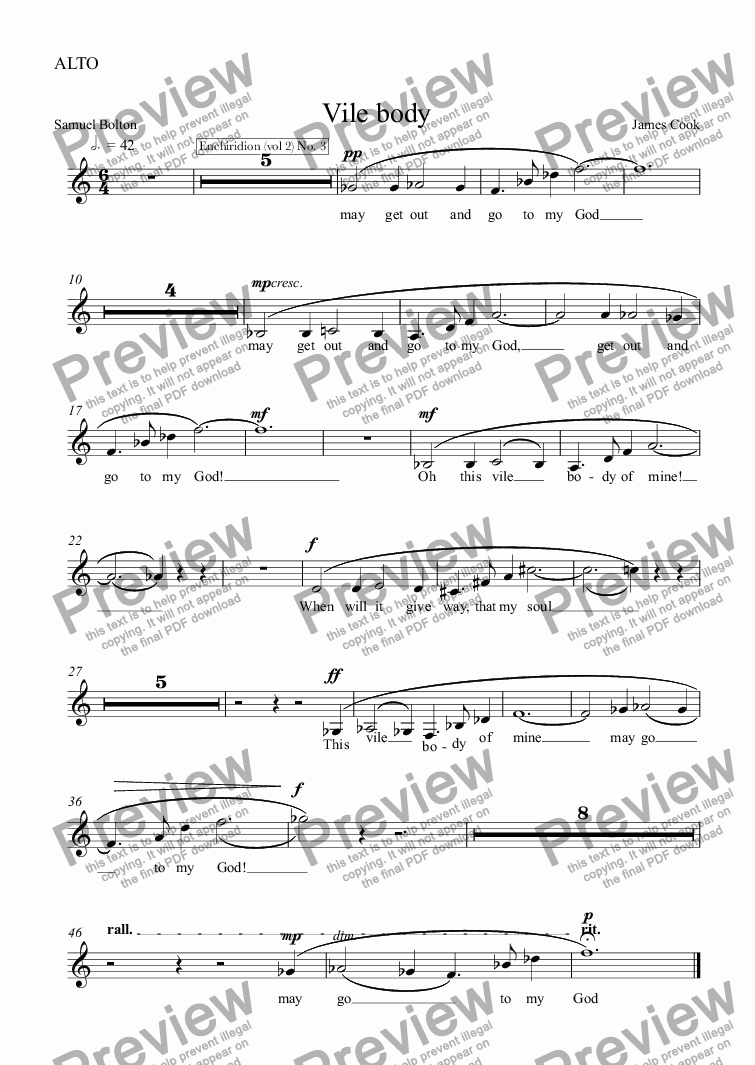 page one of the ALTO part from Vile body