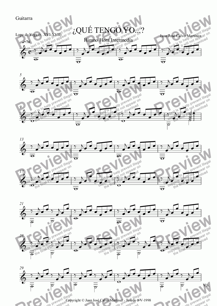 page one of the Guitarra part from ¿Qué tengo yo...?