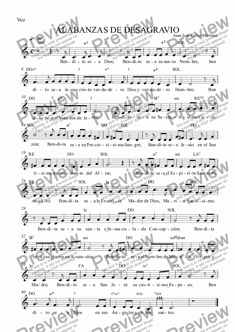 page one of the Voz part from Alabanzas de desagravio