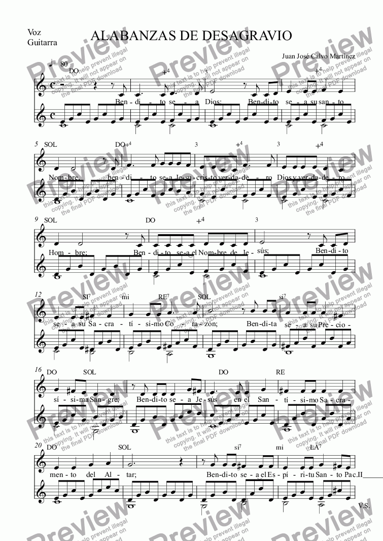 page one of the Voz, Guitarra part from Alabanzas de desagravio