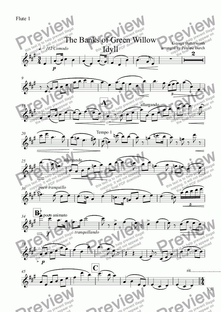 page one of the Flute 1 part from The Banks of Green Willow Idyll