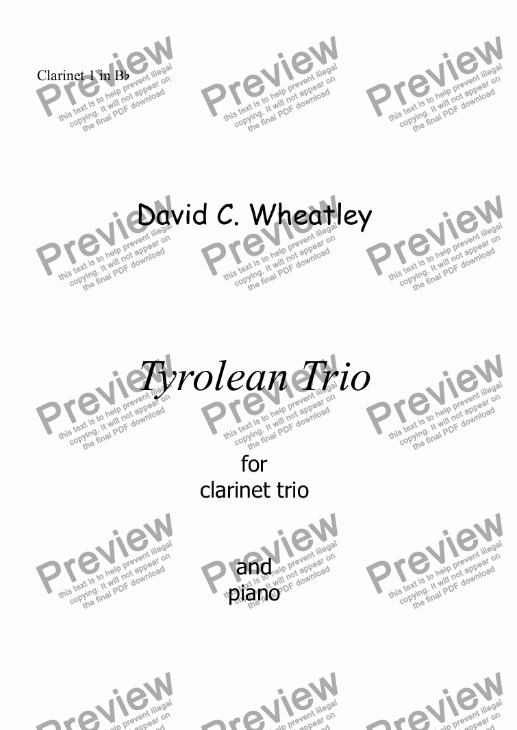 page one of the Clarinet 1 in Bb part from Tyrolean Trio for clarinet trio and piano by David Wheatley