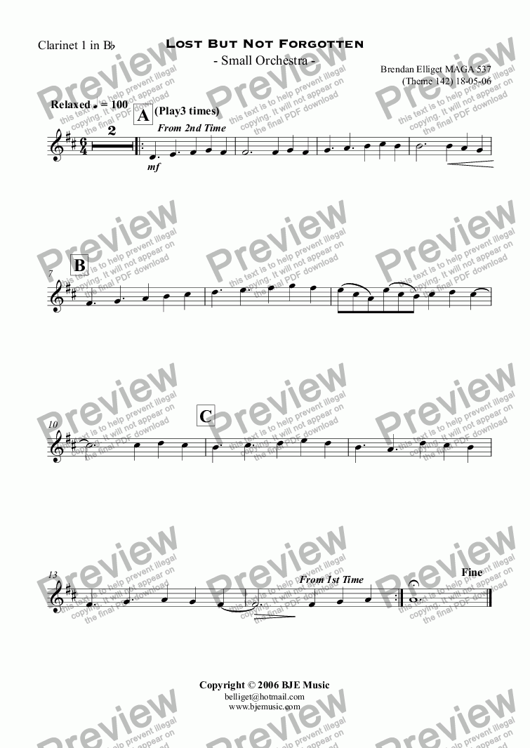 page one of the Clarinet 1 in B^b part from Lost But Not Forgotten  - Small Orchestra
