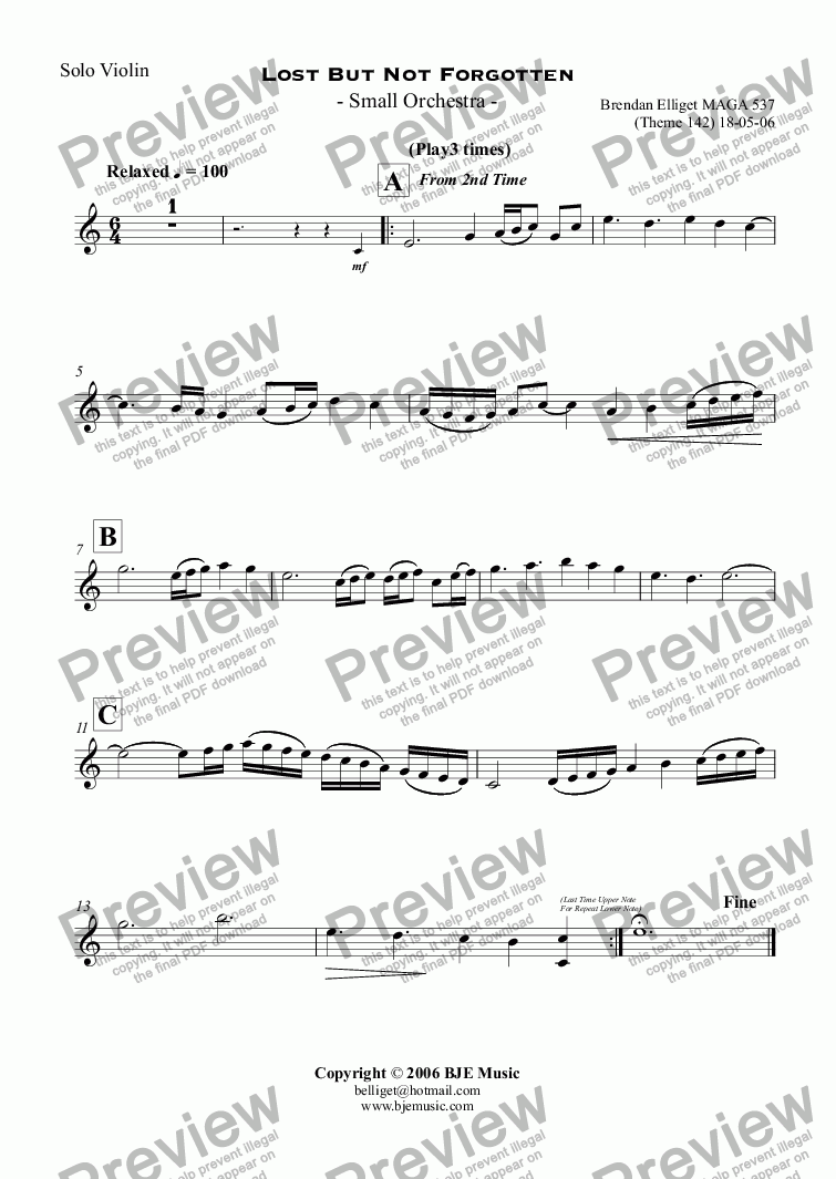 page one of the Solo Violin part from Lost But Not Forgotten  - Small Orchestra