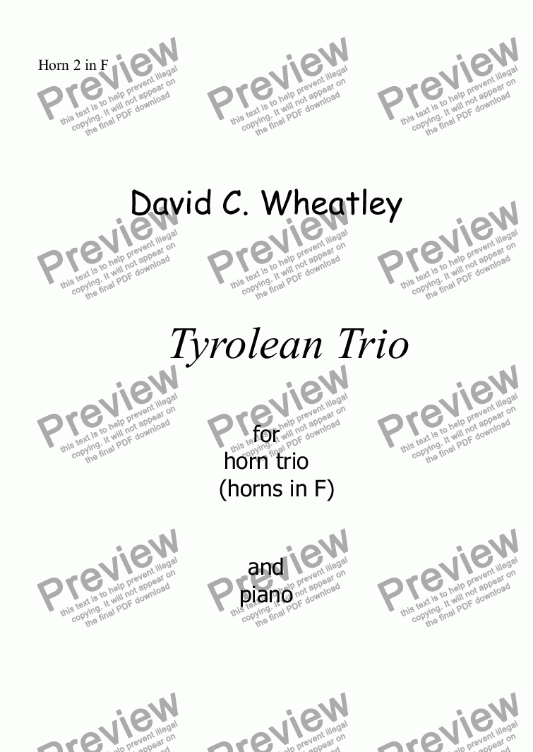 page one of the Horn 2 in F part from Tyrolean Trio for horn trio (in F) and piano by David Wheatley