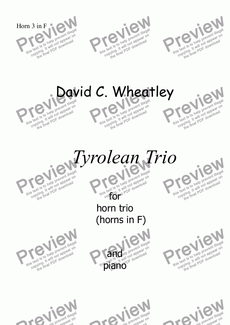 page one of the Horn 3 in F part from Tyrolean Trio for horn trio (in F) and piano by David Wheatley