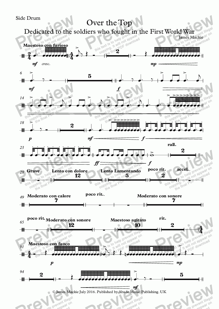 page one of the Side Drum part from Over The Top