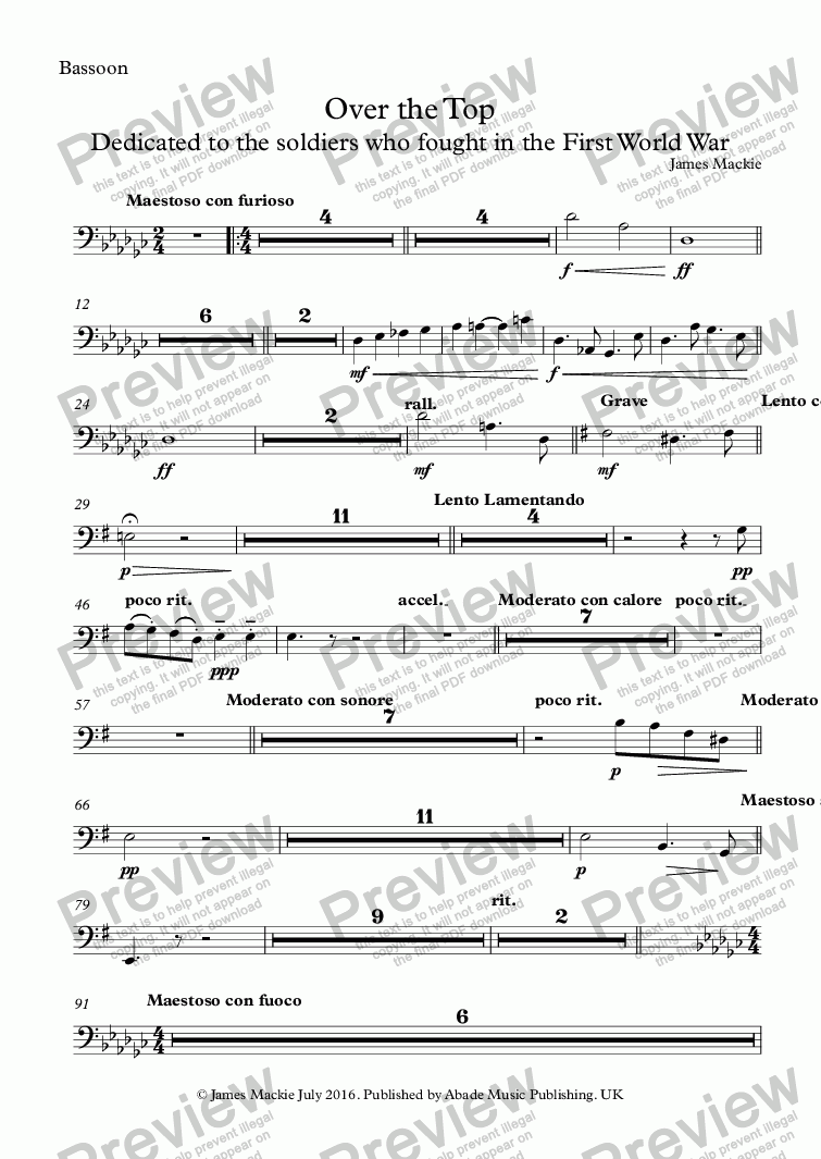 page one of the Bassoon part from Over The Top
