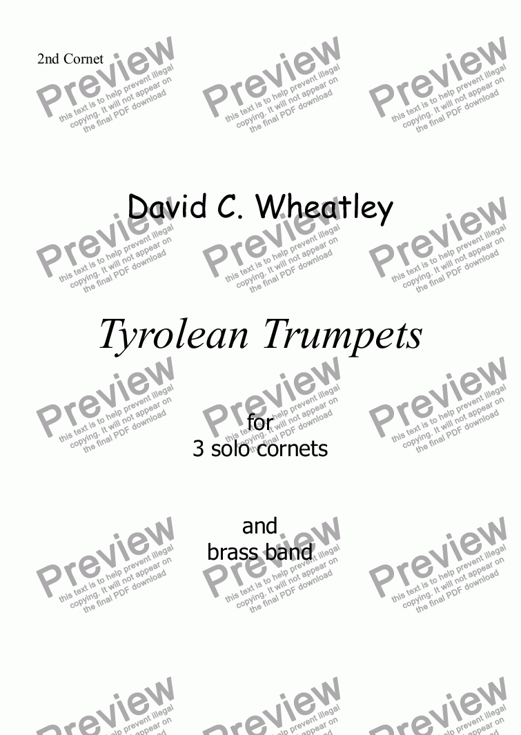page one of the 2nd Cornet part from Tyrolean Trumpets for 3 solo cornets and brass band by David Wheatley