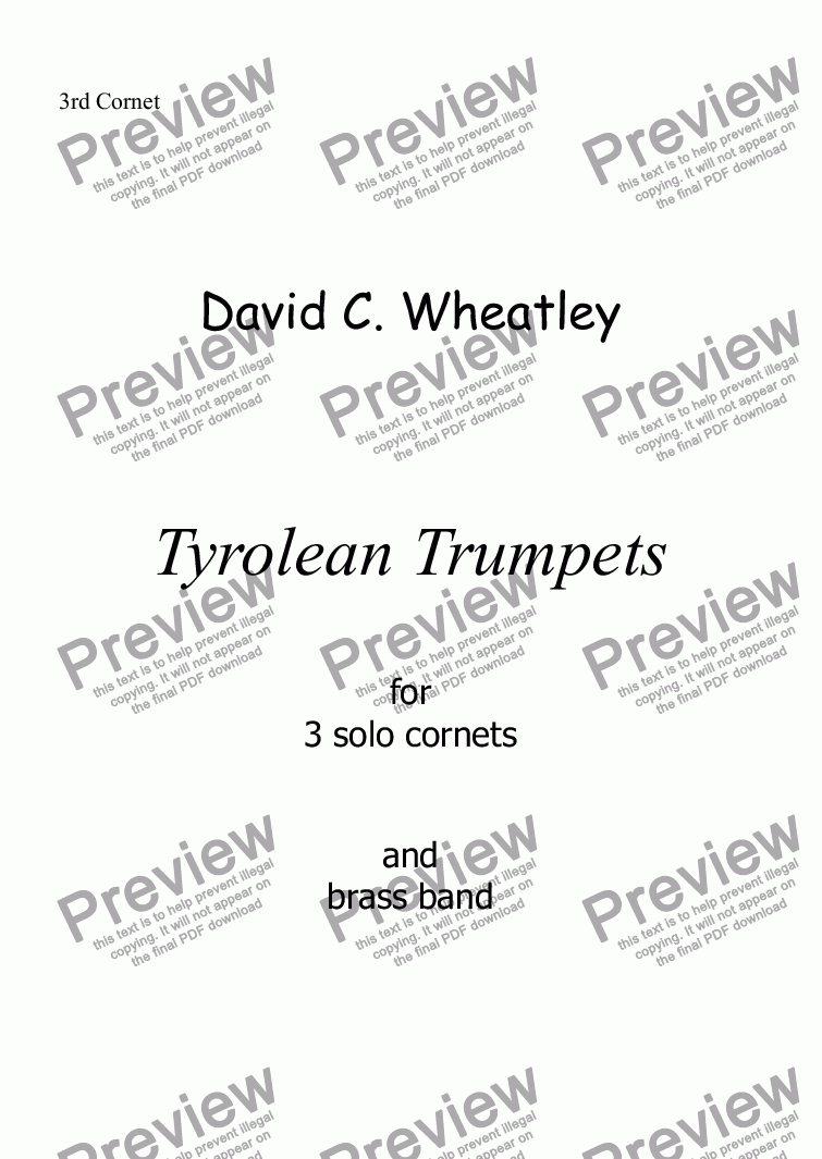 page one of the 3rd Cornet part from Tyrolean Trumpets for 3 solo cornets and brass band by David Wheatley