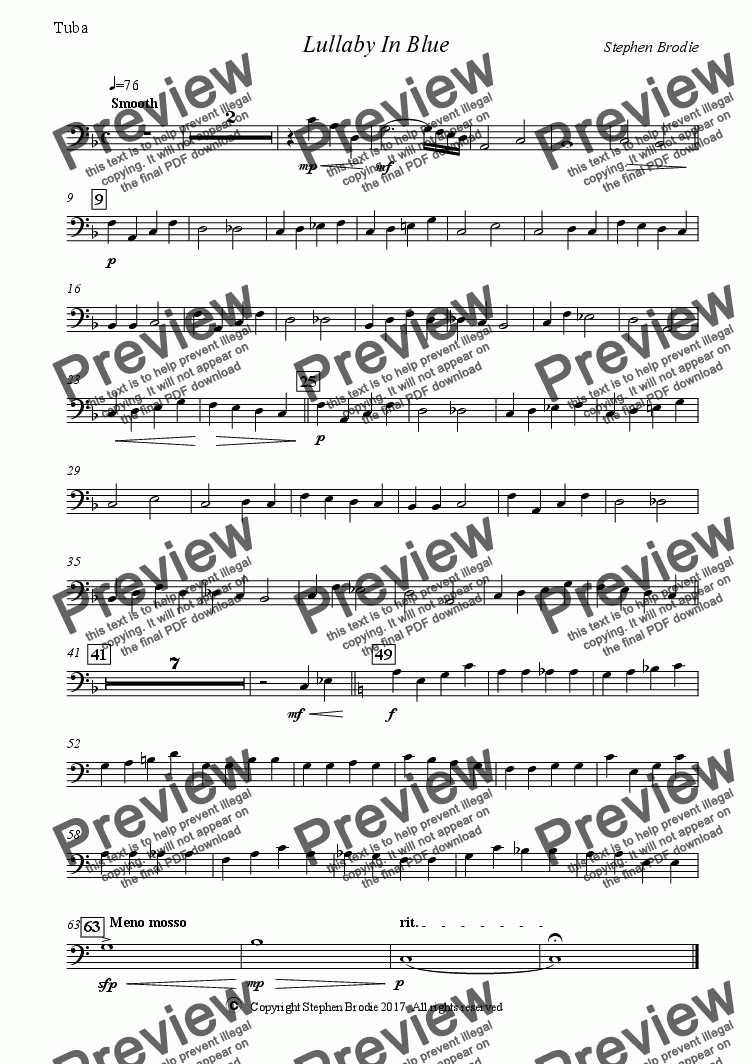 page one of the Tuba C part from Lullaby In Blue WB