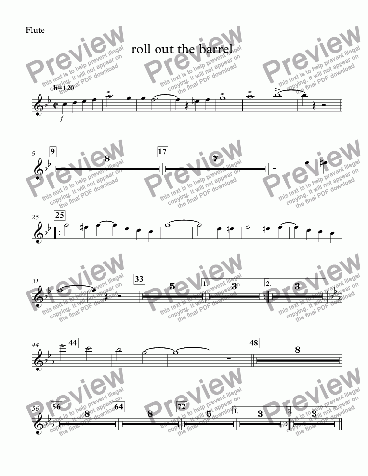page one of the Flute part from roll out the barrel