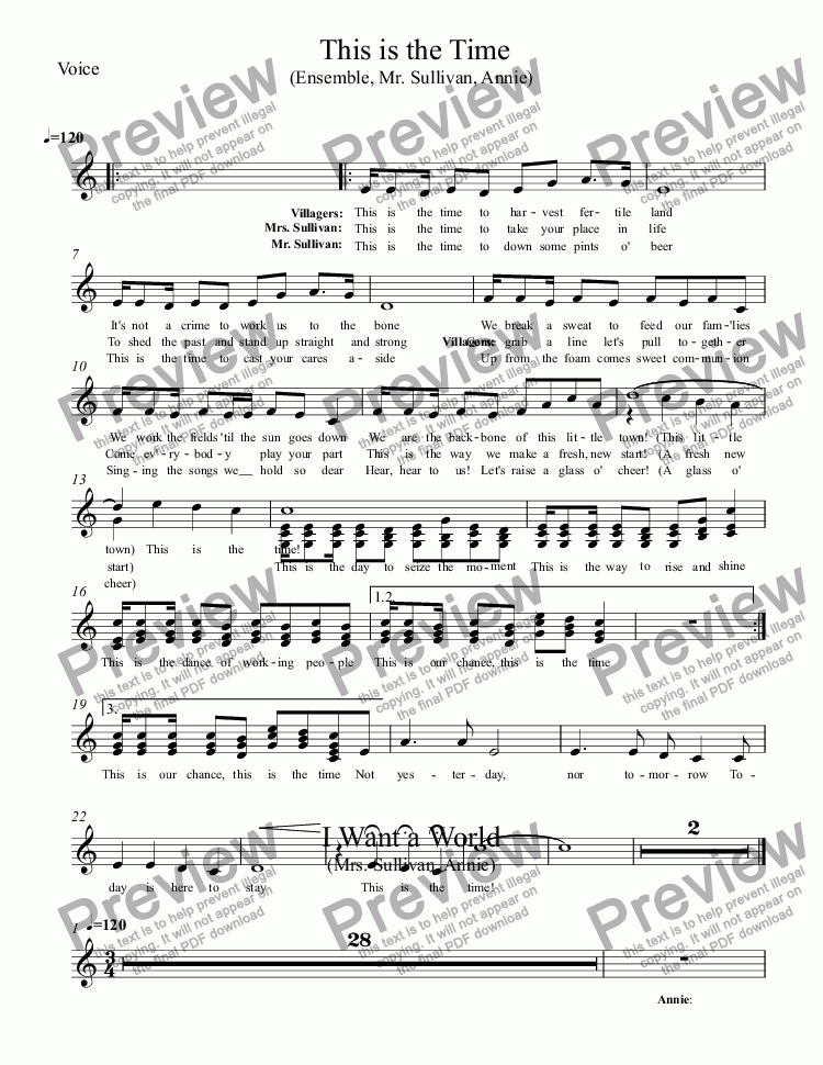 page one of the Voice part from This is the Time (Ensemble, Mr. Sullivan, Annie)