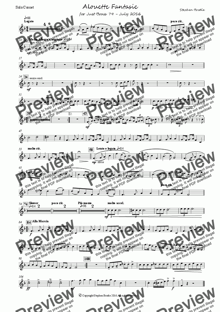 page one of the Solo Cornet Bb part from Alouette Fantasie