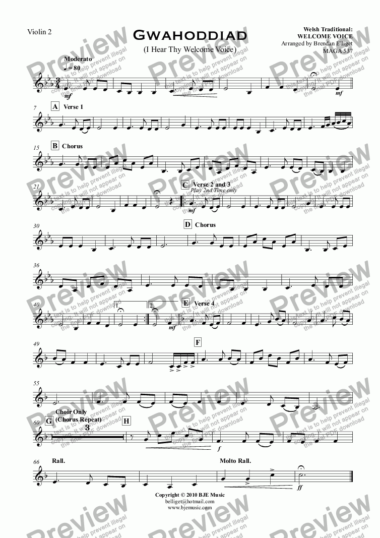 page one of the Violin 2 part from Gwahoddiad (I Hear Thy Welcome Voice) - Orchestra with SATB Choir