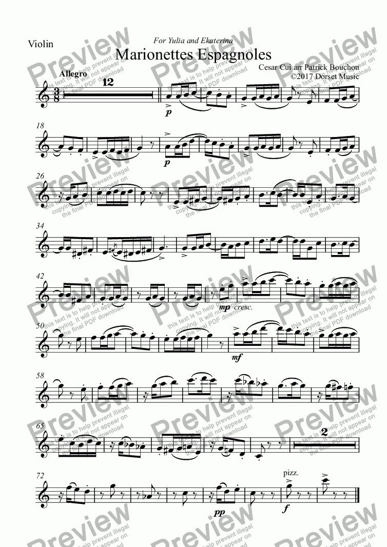 page one of the Violin part from Cui - Marionettes Espagnoles