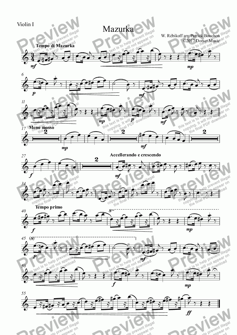 page one of the Violin part from Rebikoff - Mazurka