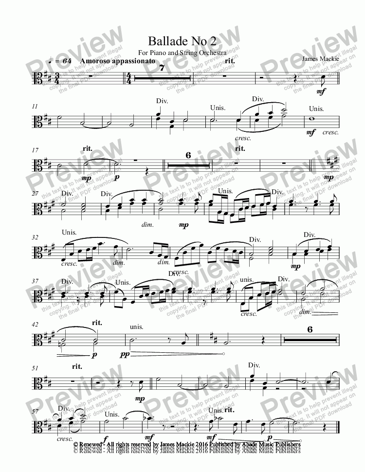 page one of the Viola part from Ballade No 2 For Piano and String Orchestra