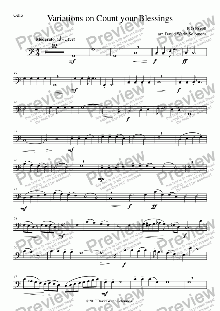 page one of the variations on count string quartet - Cello part from Variations on Count your Blessings for string quartet