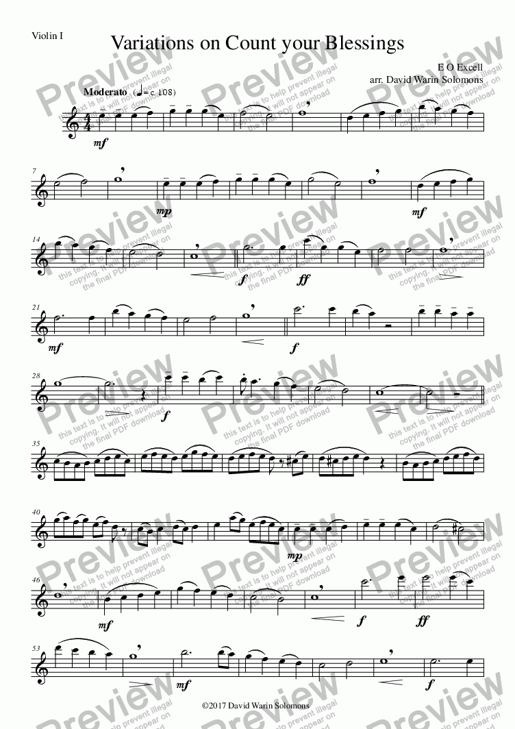 page one of the variations on count string quartet - violin I part from Variations on Count your Blessings for string quartet