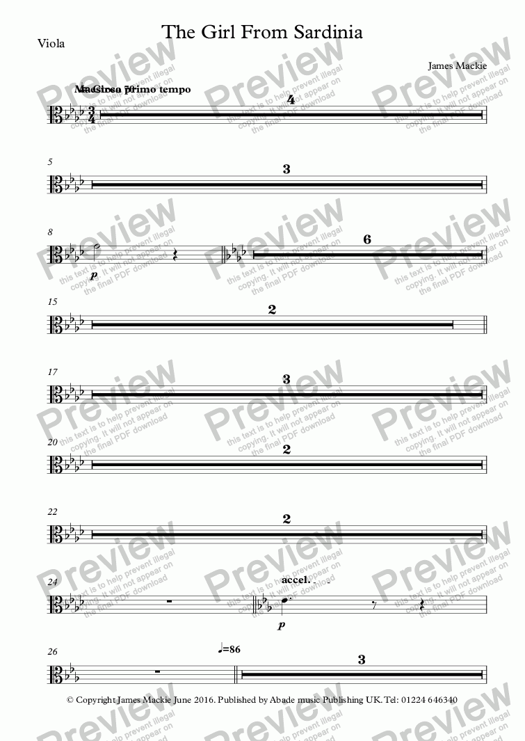 page one of the Viola part from The Girl From Sardinia