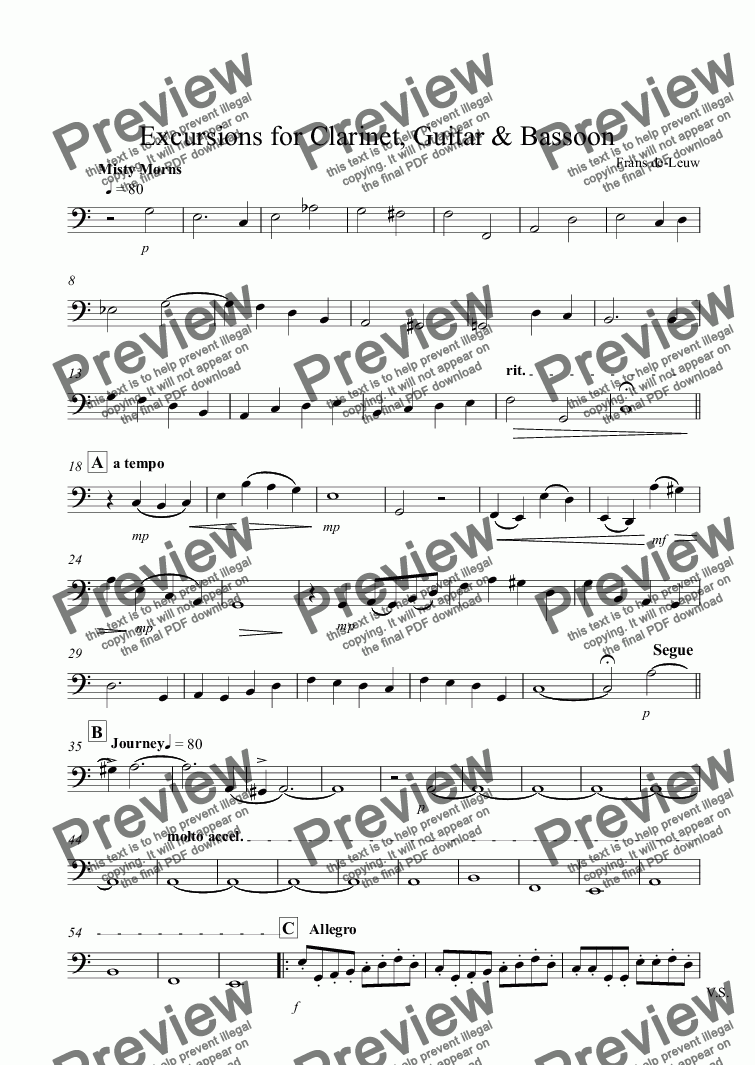 page one of the Bassoon part from Excursions for Clarinet, Guitar & Bassoon